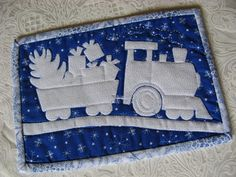 Holiday Express Mug Rug pattern $2.00 on Craftsy at http://www.craftsy.com/pattern/quilting/home-decor/holiday-express-mug-rug/57018