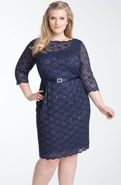Alex Evenings Belted Lace Sheath Dress (Plus) | Nordstrom  ~ Reminds me of Adele and an old-school feel.