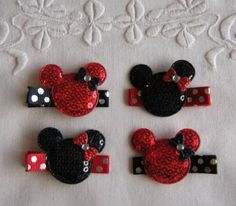 Minnie Mouse Hair Clips  Girls Hair Accessory  by PoppinUpHairBows, $6.00