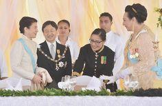 Crown Prince Naruhito of Japan and Crown Princess Masako of Japan attend the official coronation ceremony for King Tupou VI of Tonga and Queen Nanasipau'u at the Free Wesleyan Church on July 4, 2015 in Nuku'alofa, Tonga