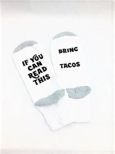 Taco Socks, If You Can Read This Bring Tacos, Halloween Socks, Word Socks Halloween Socks, H Words, Holiday Socks, Valentines Mugs, Mother's Day Mugs, Custom Socks, Funny Socks, Patterned Socks, Novelty Socks