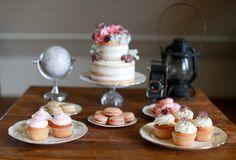 Vintage dessert table | Sarah Goodwin Photography | see  more on: http://burnettsboards.com/2014/06/vintage-travel-inspired-wedding/