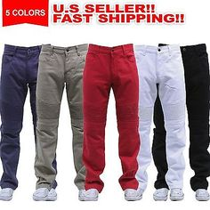 MEN'S STRAIGHT FIT MOTO HIPSTER LEVIS STYLE STRETCH BIKER TWILL PANTS 5 COLORS