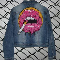 Hand painted denim jacket. donut lips. Painted clothing