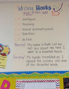 Narrative Beginnings, hook your readers, writing, fourth grade, anchor chart