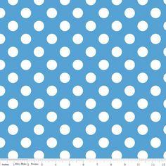 One Yard Medium Dots  White Dots on Medium Blue by WarmKittyQuilts