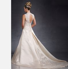 Queen Anne Neckline Gown (#J2995) #wedding