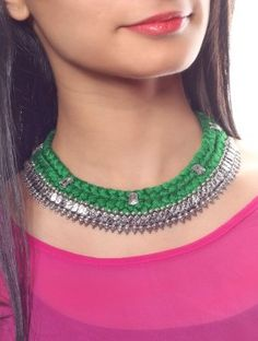 Forest Green Silver Braided Choker
