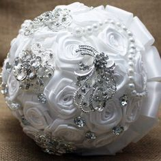 Custom Made Romantic Pure White Roses Silk Satin Wedding Bouquet Bridal Bouquet #Unbranded