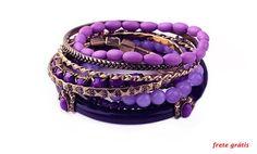 Bracelete cristal, contas,  com vários tons de violeta, ouro velho, enfim são 8 pulseiras, usadas do jeito que vc quiser.