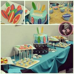 It's a surfing party!   Surfboard cookies, surfboard cake pops, and the surfboard cake!