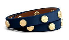 Tory Burch Patent Double Wrap Logo Stud Bracelet