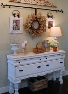 By Your Hands: Trash to Treasure --- Repurposing Old Dressers / Use curtain rod to hang wreath <3