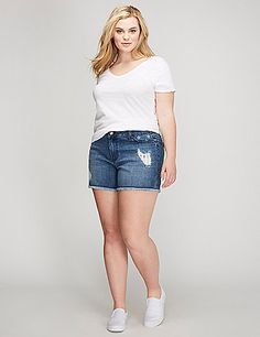 Introducing our all-American denim weekend short.Frayed edges. Some stars & stripes action. (Trust us: you'll want to wear these all week too.) 5 pockets. Button & zip fly closure. Belt loops.  lanebryant.com