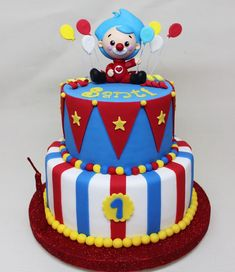 Boys 1st Birthday Party Ideas, Baby Boy 1st Birthday, Carnival Birthday Parties, Circus Birthday, Clown Party, Circus Party, Garfield Birthday, Circus Cakes, Colorful Cakes