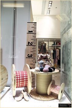 Timber spools by roach 収納 diy, display design, store design, shop windows, Visual Merchandising Displays, Visual Display, Display Design, Store Design, Design Shop, Store Front Windows, Retail Windows, Vitrine Design, Decoration Vitrine