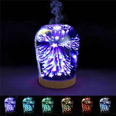 3D Fireworks Glass Aromatherapy Diffuser 100ml Cool Mist Humidifier Color Changing Night Light is Diversiform-NewChic Mobile
