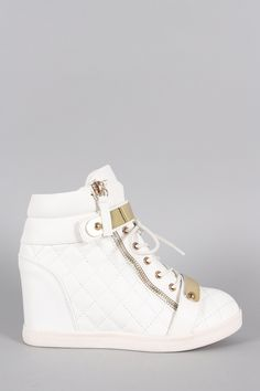 Quilted High Top Wedge Sneaker