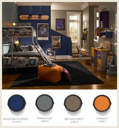 #Navy, #gray and #orange define a sporty look for this boys #bedroom #BEHRPaint Boys Bedroom Paint, Bedroom Paint Colors, Teen Bedroom, Grey Orange Bedroom, Orange Bedrooms, Bedroom Color Schemes, Bedroom Colour Palette, Boys Room Colors, Snowboard Bedroom