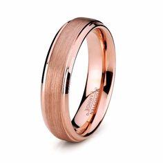 Wedding Ring - 6mm Rose Gold Tungsten Mens Wedding Band