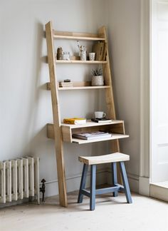 Our gorgeous raw oak Hambledon Shelf Ladder has been updated to include a desk with a laptop tray