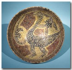 Large Nishapur Glazed Pottery Plate with Bird, Persia 11th Century A.D.