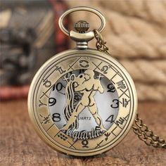 Pocket Watch Necklace, Aquarius, Quartz, Bronze, Watches, Chain, Stainless Steel, Accessories, Products