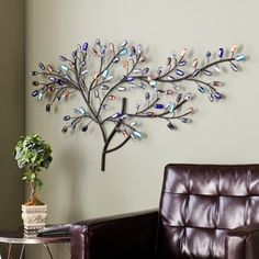 Harper Blvd Willow Multicolor Metal/ Glass Tree Wall Sculpture | Overstock.com Shopping - The Best Deals on Statues & Sculptures