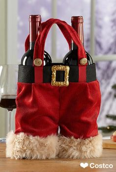 Dress up your holiday swag with the Santa Pants Two Bottle Wine Tote 3 Pack. Great for decorating or gift giving. Use as a table centerpiece or put out under the tree. Split the pack up and use as a carrier for your holiday beverage presents. Christmas Wine, Christmas Bags, Holiday Drinks, Holiday Fun, Christmas Crafts, Christmas Decorations, Wine Tote, Holidays And Events, Cool Gifts