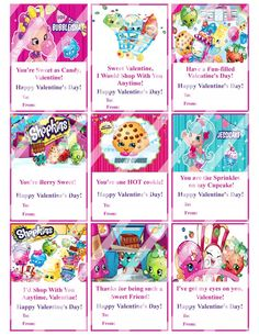 Shopkins Valentines Day Cards Sheet #1 (instant download or printed)