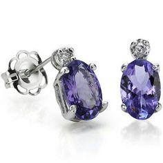 1-CT-Genuine-Tanzanite-Diamond-Earrings-Platinum-over-Sterling www.whitesjewelryandcoin.com