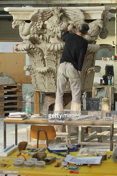 Sculptor Steffen Werner creates a Corinthian capital with clay at the Schlossbauhuette studio where a team of sculptors is creating decorative. Cement Design, Hindu Statues, Classic House Design, Decorative Plaster, Architectural Sculpture, Cultural Architecture, Art Storage, Wood Carving Patterns, Victorian Decor