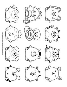 Free printable Chinese New Year Coloring Pages eBook for use in your classroom or home from PrimaryGames. Print and color this Cute Chinese Zodiac Symbols coloring page. Snake Coloring Pages, New Year Coloring Pages, Colouring Pages, Free Coloring, Coloring Books, Adult Coloring, Kawaii Drawings, Easy Drawings, New Year Printables