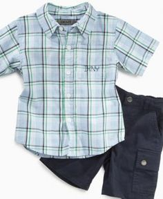 DKNY Baby Set, Baby Boys Plaid Shirt and Cargo Shorts - Kids Baby Boy (0-24 months) - Macy's