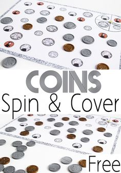 Coin Matching Spin & Cover Game Help kids learn to recognize coins with this hands-on math game. Coin Spin & Cover is a fun way to learn what coins look like. Money Activities, Math Activities For Kids, Money Games, Math For Kids, Math Games, Fun Math, Math Help, Math Resources, Math Bingo