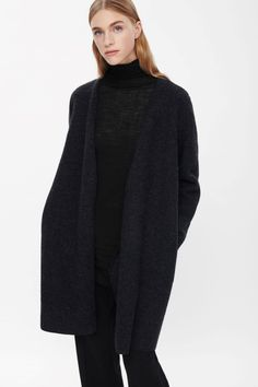 Open-front wool cardigan