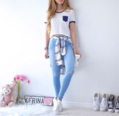 Find images and videos about fashion, outfit and clothes on We Heart It - the app to get lost in what you love. Tumblr Outfits, Mode Outfits, Girl Outfits, Fashion Outfits, Fashion Ideas, College Outfits, Outfits For Teens, Trendy Outfits, School Outfits