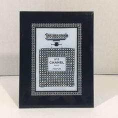 details about chanel no 5 bling art print in black glass mirrored rhinestone crystal frame