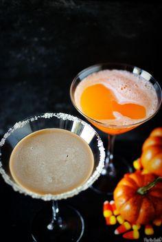 3 Halloween Martinis: 1) Candy Corn Cordials, 2) Dark Chocolate Martini, & 3) Twizzler-Tini