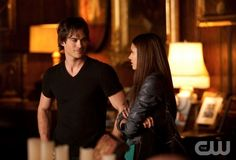 """The Vampire Diaries  """"Night of the Comet""""  Pictured: Ian Somerhalder as Damon, Nina Dobrev as Elena  Photo Credit: Bob Mahoney / The CW  © 2009 The CW Network, LLC. All Rights Reserved."""