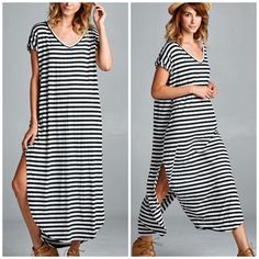Arriving • Side slit Maxi Dress Best selling style in black and gray striped . Two pockets . Runs big . Nwot Dresses