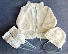 Knit Layette / Sweater Hat Booties Made from Vintage Pattern Fine Baby Yarn  White  Girl  Boy  Heirloom Keep (85.00 USD) by LaraineRoseHandiWorx