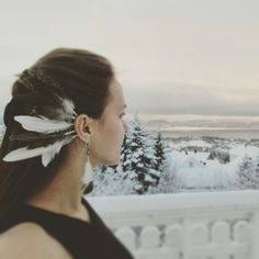 Handmade earcuff from using grouse feathers.  Bohemian fashion Native dreaming #Beyourowndreamcatcher
