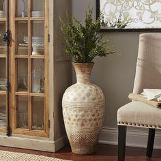Our bedroom next to dresser - Bella Antique White Terracotta Floor Vase Tall Vase Decor, Floor Vase Decor, Tall Floor Vases, Vases Decor, Candle Vases, Glass Vase, Living Room Flooring, Living Room Decor, Living Rooms