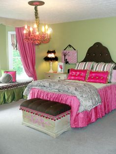 HGTV Teen Bedrooms  Shabby Chic Pink  Creating a shabby chic look on a budget was what RMS user amiewill did for her daughter's bedroom. Most of the bright pink and green accessories were handmade, which made this bright and fun bedroom