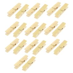 Unique Bargains 20 Pcs Household Nonslip Multipurpose Clothing Clothespins Clips, Green bamboo