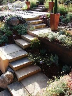 40 Ideas of How To Design Exterior Stairways - Gartengestaltung ideen Cement Steps, Cement Patio, Cement Garden, Steel Retaining Wall, Retaining Walls, Stone Stairs, Metal Stairs, Black Stairs, Open Stairs
