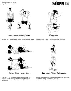 Printable exercises charts for chest, arms and shoulders
