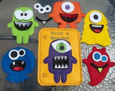 Monster Felt Game Busy Book Quiet Page Felt Board 5 Monsters 7 mouth pieces 7 eye pieces Classic Game for custom busy bag with rear storage by cabincraftycreations on Etsy