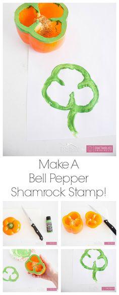 Super fun St. Patrick's Day kids craft idea! Make Bell Pepper Shamrock stamps
